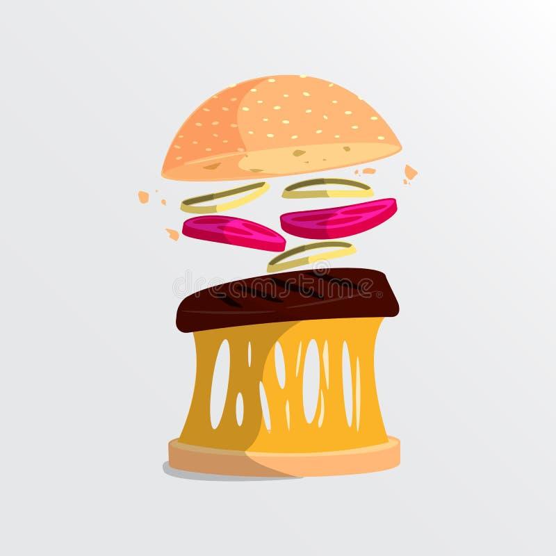 Illustrazione moderna di stile dell'hamburger con gli ingredienti Alimenti a rapida preparazione royalty illustrazione gratis