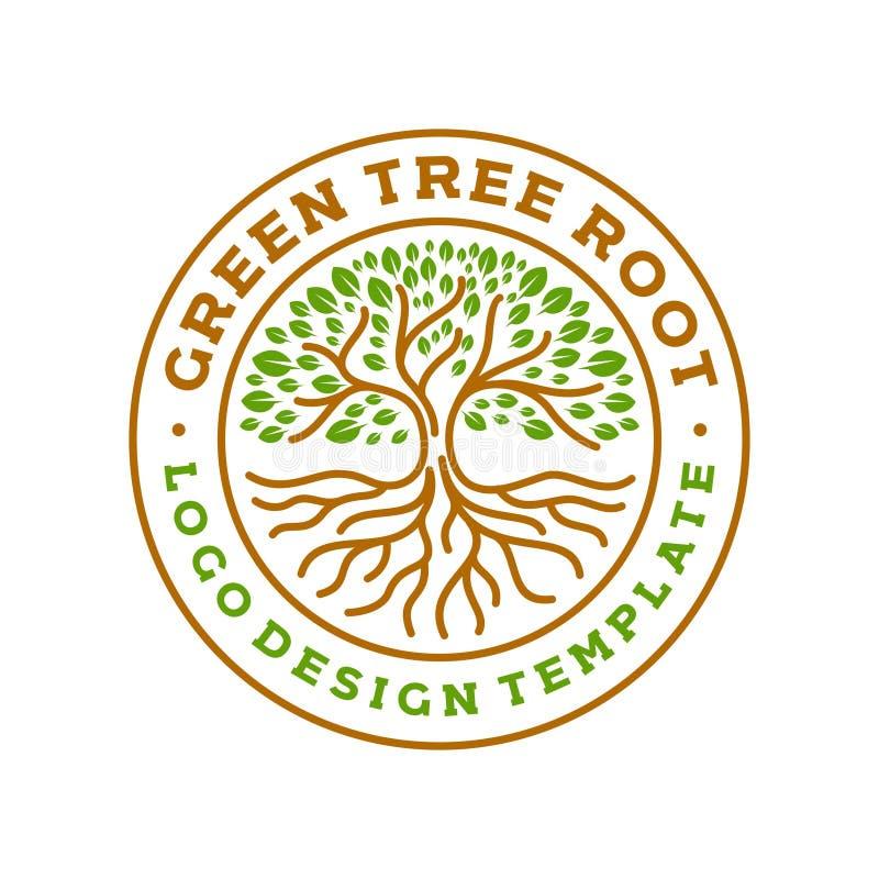Illustrazione moderna di vettore del distintivo di logo del cerchio di radici dell'albero illustrazione vettoriale