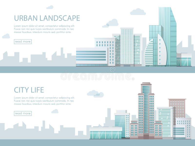 Illustrazione moderna di vettore dell'insegna di web di paesaggio urbano con le costruzioni, il negozio ed i depositi, trasporto  royalty illustrazione gratis