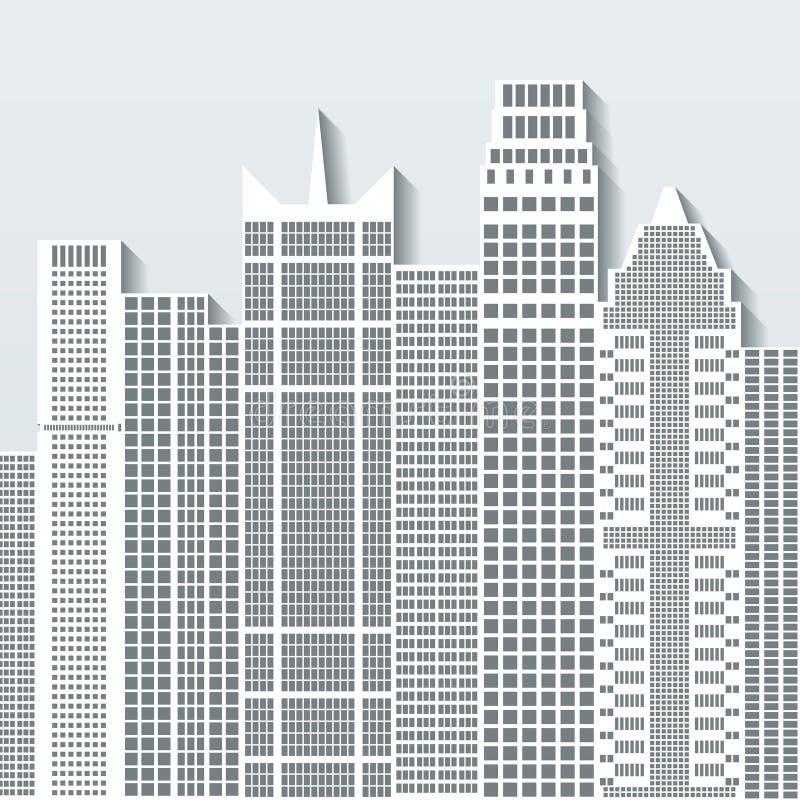 Illustrazione moderna di vettore di paesaggio urbano con gli edifici per uffici ed i grattacieli Parte B royalty illustrazione gratis