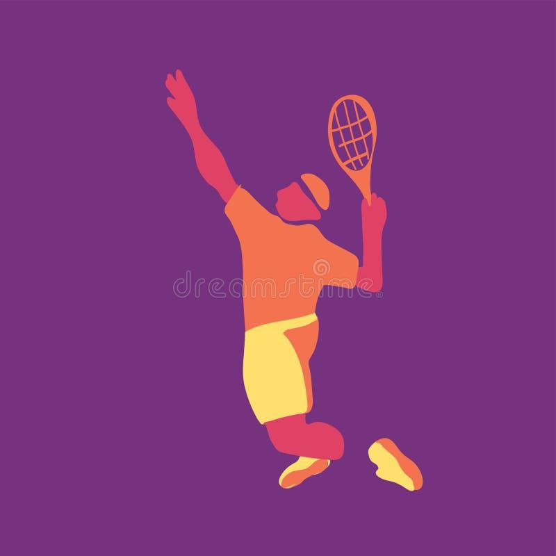 Illustrazione moderna di vettore di un tennis del giocatore sulla corte royalty illustrazione gratis