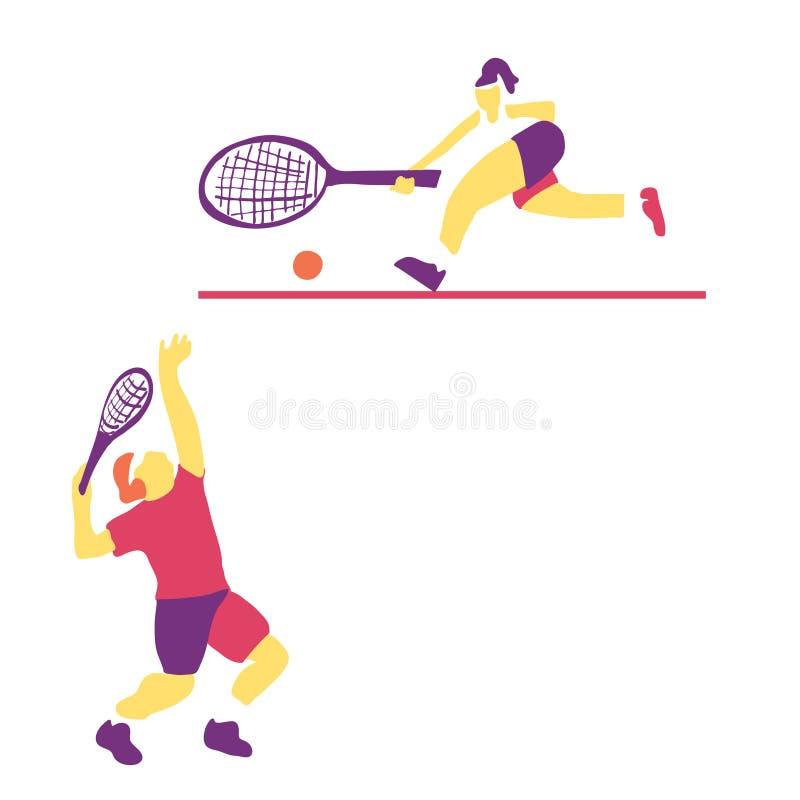 Illustrazione moderna di vettore di un tennis del giocatore sulla corte illustrazione vettoriale