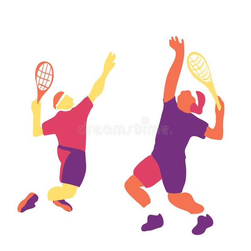 Illustrazione moderna di vettore di un tennis del giocatore sulla corte illustrazione di stock