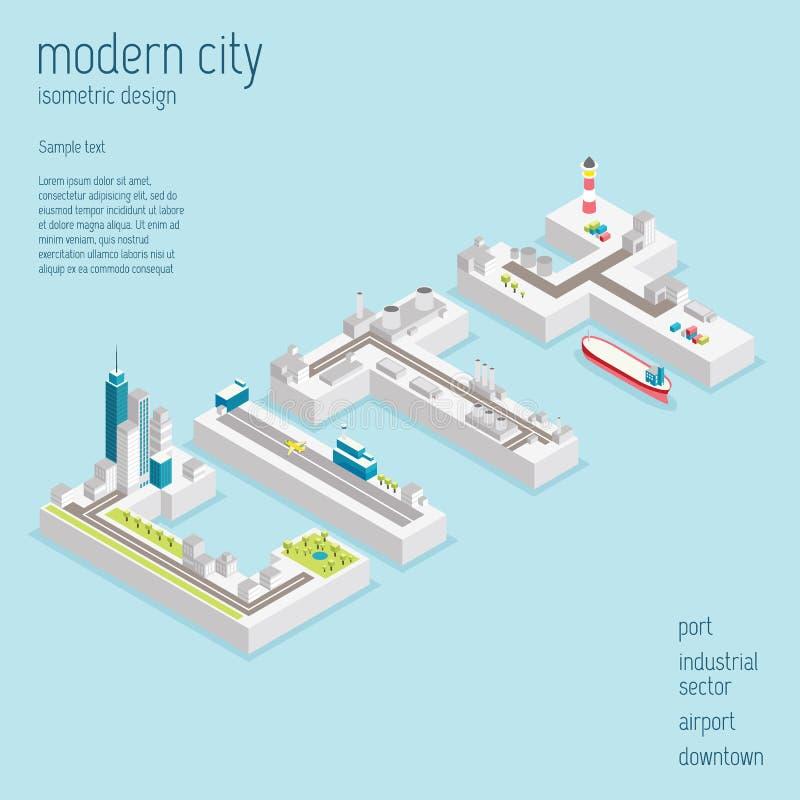 Illustrazione moderna isometrica di vettore della città fotografia stock
