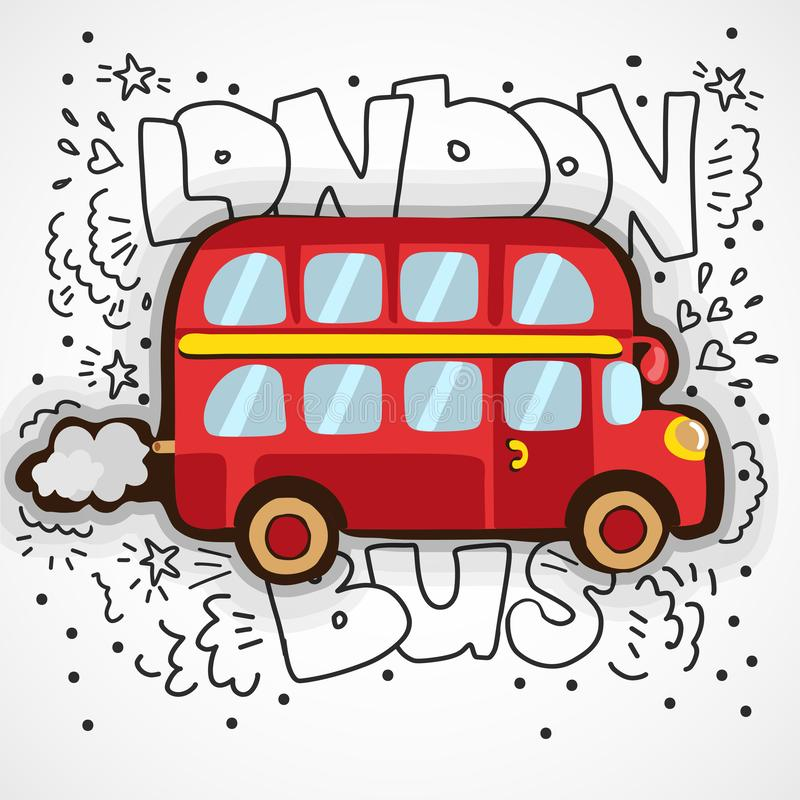 Illustrazione moderna Londra con il simbolo inglese di scarabocchio disegnato a mano - autobus a due piani rosso di vettore Schiz illustrazione vettoriale