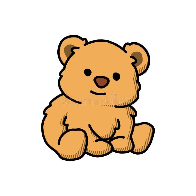 Illustrazione molle di vettore del fumetto del giocattolo della peluche Teddy Bear Character sveglio Bambini farciti Toy Flat Col royalty illustrazione gratis