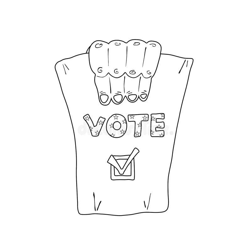 Illustrazione monocromatica circa le elezioni degli Stati Uniti illustrazione vettoriale