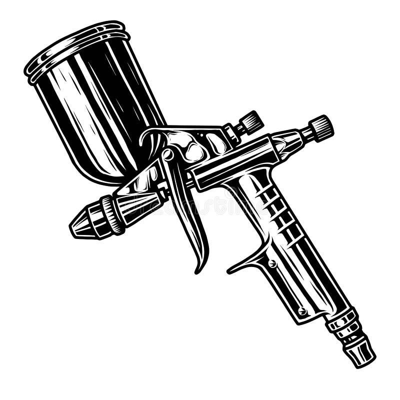 Illustrazione monocromatica della pistola a spruzzo illustrazione vettoriale