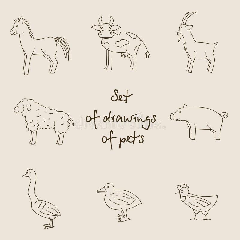 Illustrazione monocromatica lineare di vettore degli animali domestici royalty illustrazione gratis