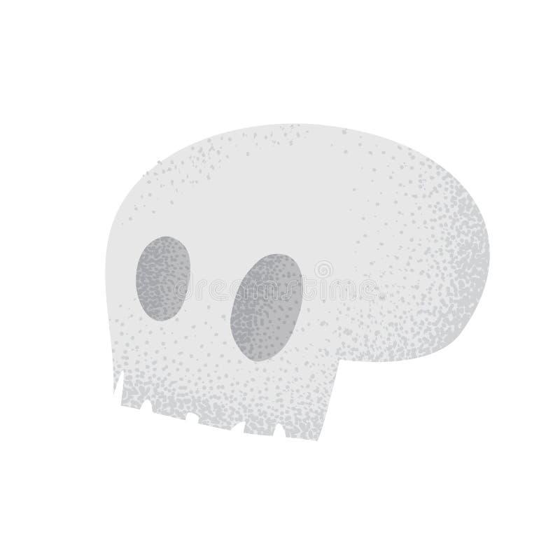 Illustrazione morta d'annata umana dell'osso del cranio del deserto di lerciume di stile del fumetto su bianco illustrazione di stock
