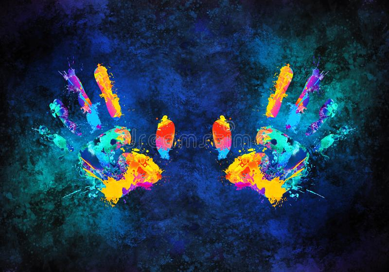 Illustrazione multicolore artistica della rappresentazione 3d dell'estratto delle mani royalty illustrazione gratis