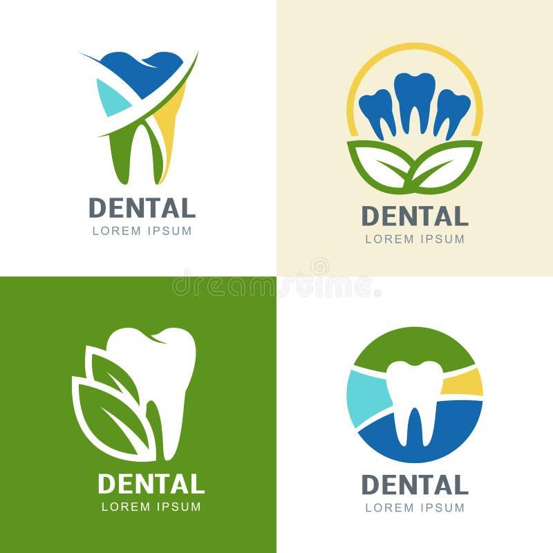 Illustrazione multicolore delle foglie verdi e del dente illustrazione vettoriale