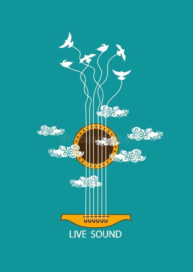 Illustrazione musicale con la chitarra di concetto illustrazione di stock