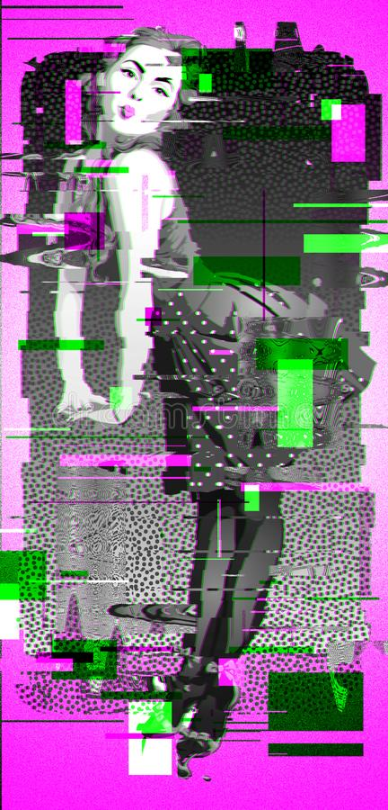 Illustrazione negli stili: onde, disintegrazione, spaccatura, impulso errato illustrazione di stock