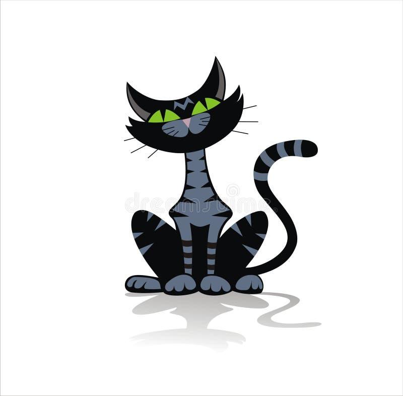 Illustrazione nera del gatto di tabby royalty illustrazione gratis