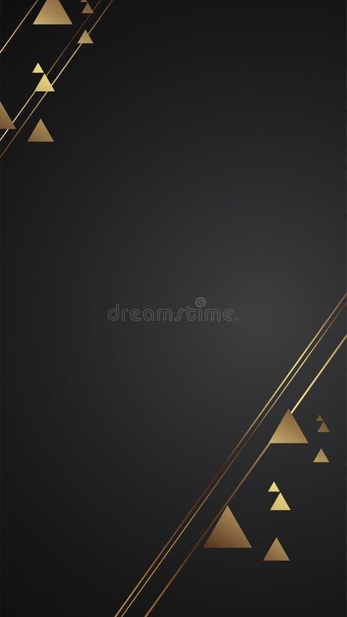 Illustrazione nera di lusso di vettore dell'insegna del fondo con la linea triangolo di art deco della striscia dell'oro illustrazione di stock