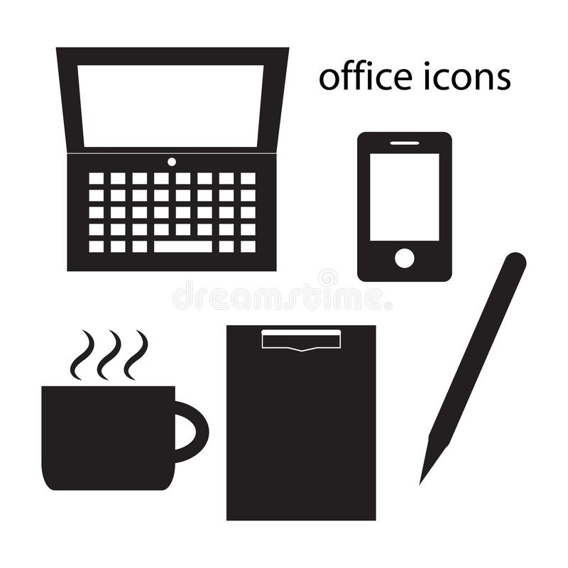 Illustrazione nera di vettore dell'insieme delle icone dell'ufficio illustrazione vettoriale