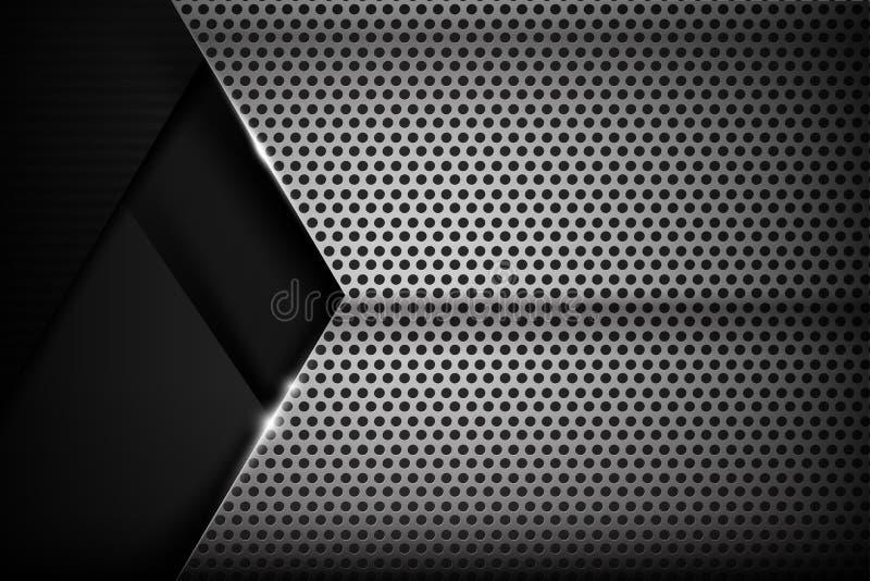 Illustrazione nera e grigia 016 di Chrome del fondo di struttura di vettore illustrazione di stock