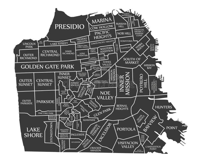 Illustrazione nera identificata U.S.A. della mappa della città di San Francisco illustrazione di stock