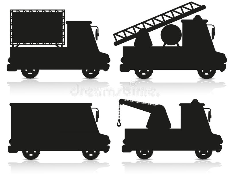 Illustrazione nera stabilita di vettore della siluetta dell'icona dell'automobile illustrazione di stock