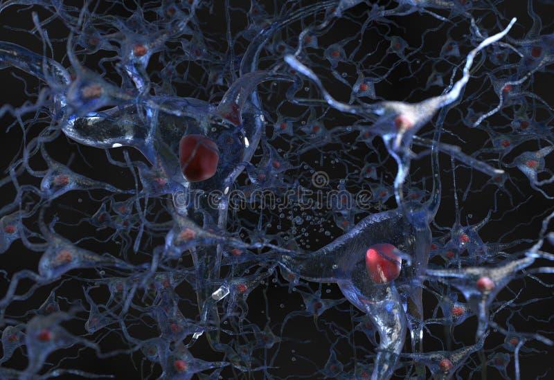 Illustrazione netta 3d delle cellule nervose illustrazione vettoriale