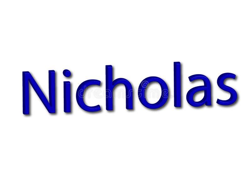 Illustrazione, nome Nicholas isolato in un fondo bianco royalty illustrazione gratis