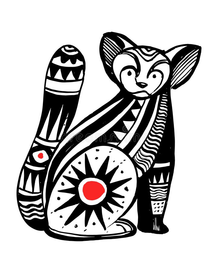 Illustrazione o disegno tribale dell'inchiostro di vettore del gatto royalty illustrazione gratis