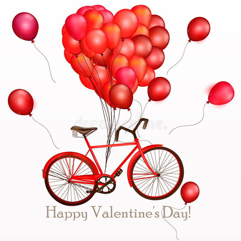 Illustrazione o fondo di giorno del ` s del biglietto di S. Valentino con la bicicletta rossa e illustrazione di stock
