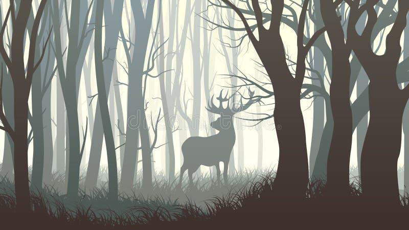 Illustrazione orizzontale degli alci selvaggi in legno illustrazione vettoriale