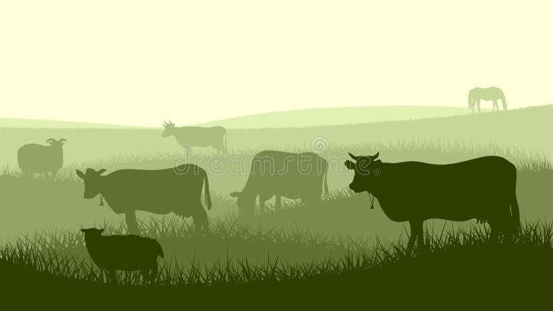 Illustrazione orizzontale degli animali domestici dell'azienda agricola. illustrazione vettoriale