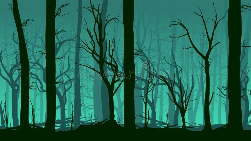 Illustrazione orizzontale della foresta del pino. illustrazione di stock