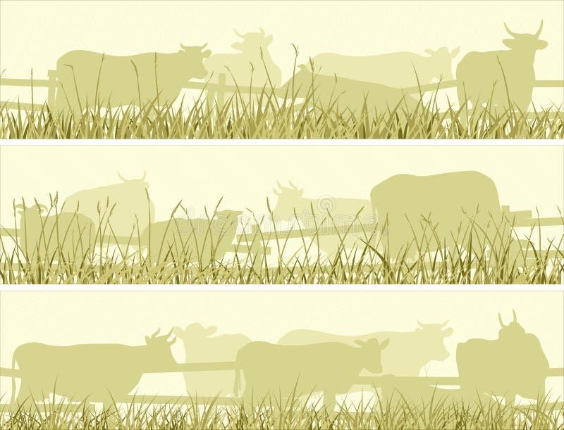 Illustrazione orizzontale di pascolo degli animali domestici dell'azienda agricola royalty illustrazione gratis