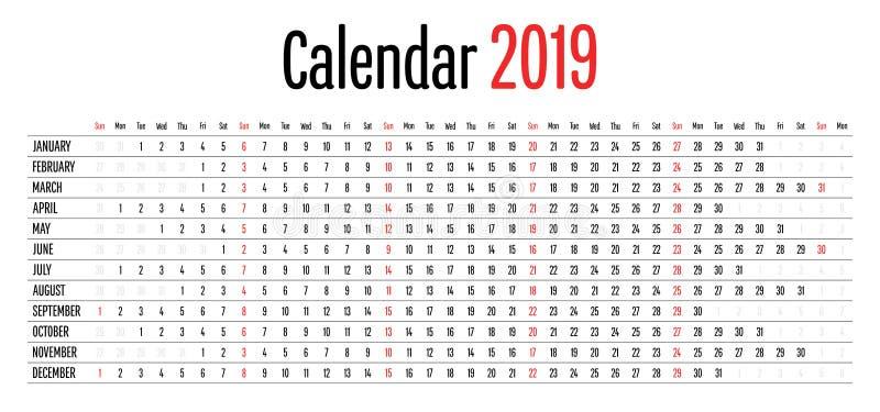 Illustrazione orizzontale di vettore del modello di direzione di chiara progettazione semplice di 2019 calendari illustrazione di stock