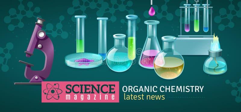 Illustrazione orizzontale di vettore della rivista di scienza royalty illustrazione gratis