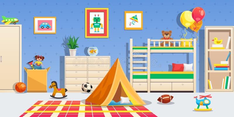 Illustrazione orizzontale interna della stanza di bambini illustrazione vettoriale