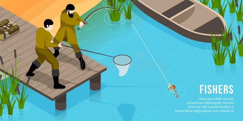 Illustrazione orizzontale isometrica dei pescatori illustrazione di stock