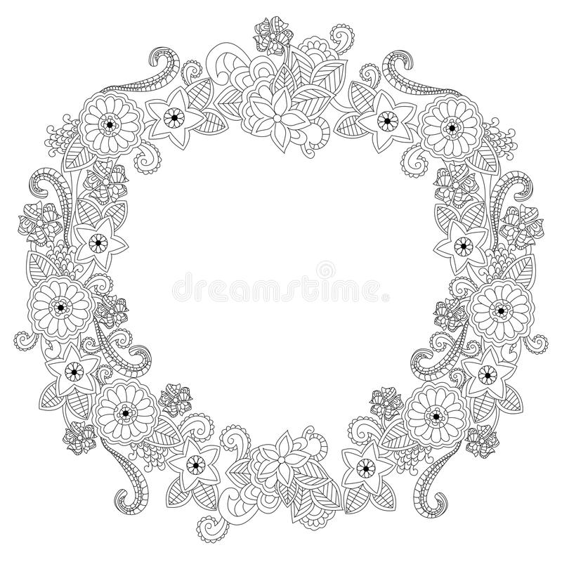 Illustrazione ovale di vettore del libro da colorare della struttura del fiore royalty illustrazione gratis