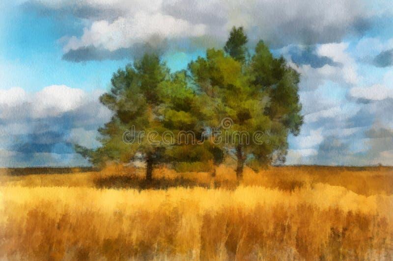 Illustrazione, paesaggio con gli alberi immagine stock libera da diritti