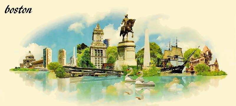 Illustrazione panoramica di vettore di colore di acqua della città di BOSTON illustrazione vettoriale