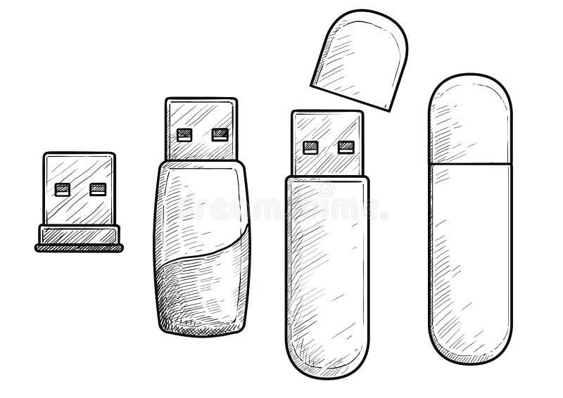 Illustrazione pendrive del Usb, disegno, incisione, inchiostro, linea arte, vettore illustrazione di stock