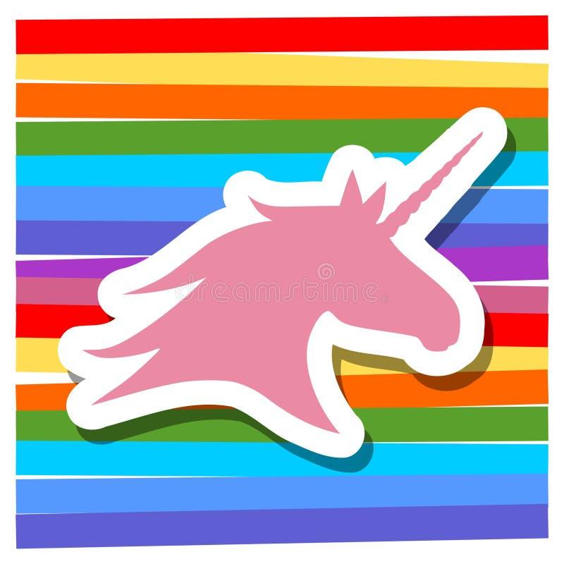 Illustrazione per i bambini, fondo colorato della siluetta dell'unicorno illustrazione di stock