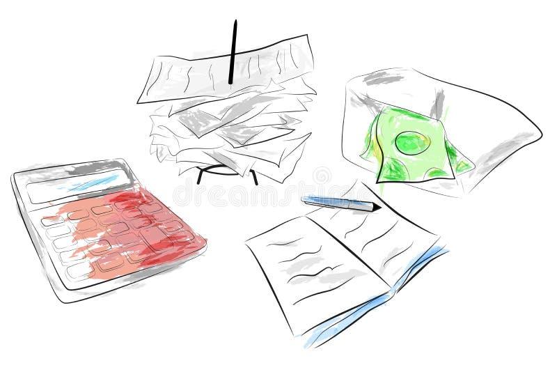 Illustrazione per il calcolatore del controllo dei costi, pila di ricevuta di pagamento e nota del blocco con effetto di colore d illustrazione di stock