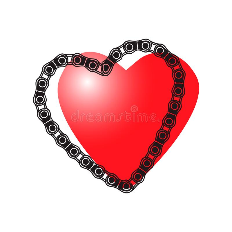 Illustrazione per il giorno degli amanti Cuore e catena dell'automobile Grafici di vettore illustrazione di stock