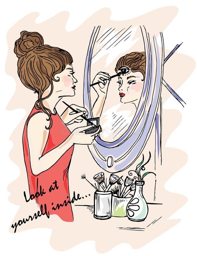 Illustrazione per il libro Esaminivi dentro La ragazza fa il trucco Esposizioni nello specchio Mistero intorno noi Terzo occhio illustrazione vettoriale