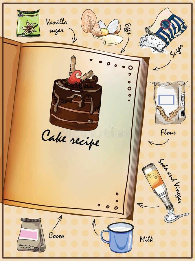 Illustrazione per il libro Ricetta illustrata del dolce Il libro con gli ingredienti illustrazione di stock