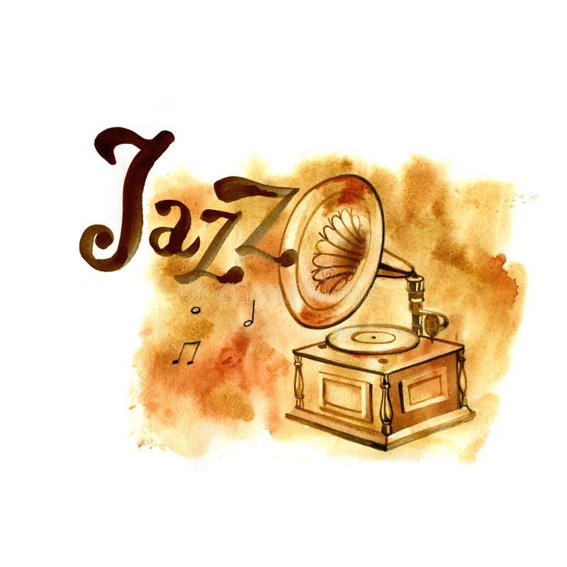 Illustrazione per il manifesto di jazz Schizzo disegnato a mano dell'acquerello d'annata royalty illustrazione gratis