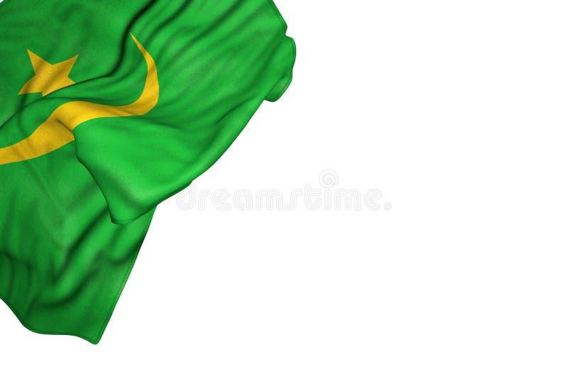 Illustrazione piacevole della bandiera 3d di celebrazione - bandiera della Mauritania con i grandi popolare risieduti nell'angolo illustrazione di stock