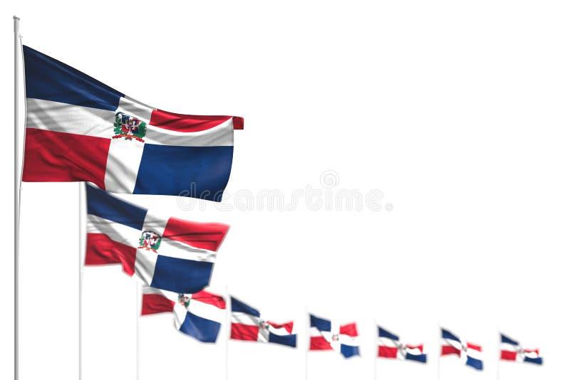 Illustrazione piacevole della bandiera 3d di festa del lavoro - la Repubblica dominicana ha isolato le bandiere ha disposto diago royalty illustrazione gratis