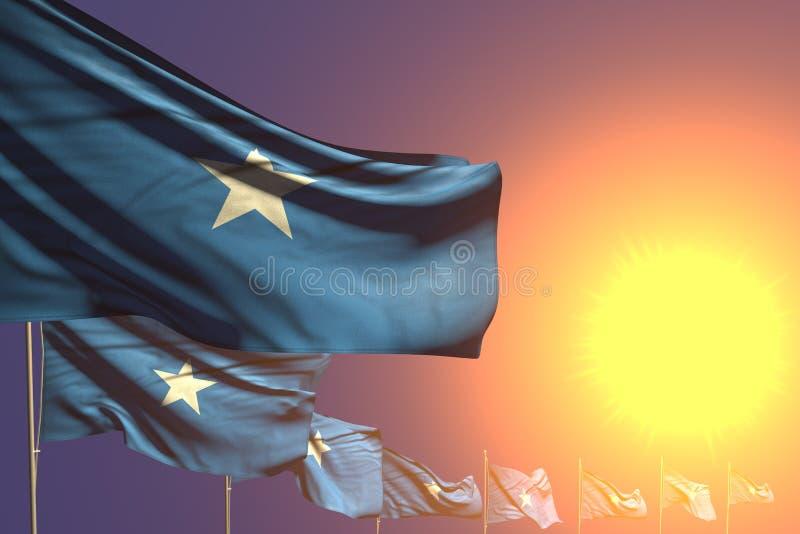 Illustrazione piacevole della bandiera 3d di Giorno dei Caduti - molte bandiere della Somalia hanno disposto diagonale sul tramon illustrazione di stock