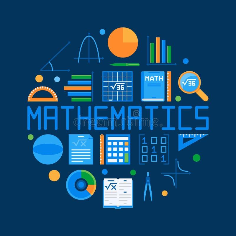 Illustrazione piana circolare di matematica Simbolo di per la matematica di vettore royalty illustrazione gratis